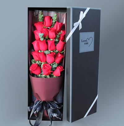 19 Stem - Boxed Red Roses & Greenery